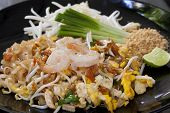 pic of thai cuisine  - Thailand fried noodles with shrimps - JPG