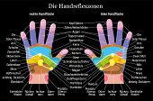 pic of reflexology  - Hand reflexology chart with accurate description of the corresponding internal organs and body parts - JPG