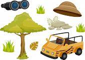 picture of safari hat  - Illustration Featuring Different Safari Elements - JPG