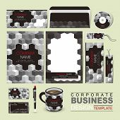 image of grayscale  - vector business corporate identity template with grayscale blocks - JPG