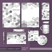 image of honeycomb  - corporate identity template with gray honeycomb elements - JPG