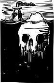 foto of iceberg  - Woodcut style image of a steam ship approaching an iceberg in the shape of a skull - JPG