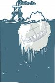 pic of viking ship  - Woodcut style image of a steam ship approaching an iceberg with a viking Longship frozen inside - JPG