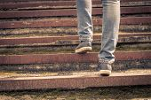 foto of upstairs  - Girl walking on stairs - JPG