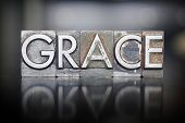 stock photo of godly  - The word GRACE written in vintage letterpress lead type - JPG