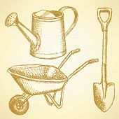 image of hand-barrow  - Sketchwatering can shovel and barrow vector vintage background - JPG