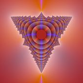foto of tetrahedron  - Computer generated fractal image with an abstract tetrahedron design in blue and pink - JPG