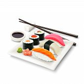 stock photo of plate fish food  - Sushi asian fish food realistic set with plate chopsticks and spices isolated on white background vector illustration - JPG