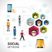 foto of avatar  - Social network concept with people avatars in hexagon shape and mobile devices elements vector illustration - JPG