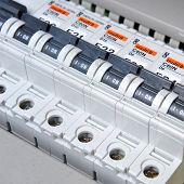 stock photo of electricity meter  - New control panel with electrical equipment - JPG