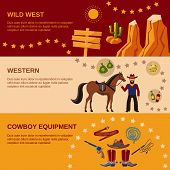 stock photo of wild west  - Wild west cowboy equipment western flat banner set isolated vector illustration - JPG