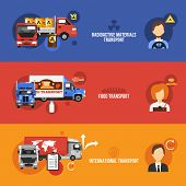 stock photo of food truck  - Truck flat banners set with radioactive materials food international transport isolated vector illustration - JPG