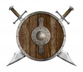 picture of saber  - old wooden shield and two crossed sabers isolated - JPG