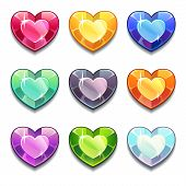 stock photo of glass heart  - Cartoon vector diamond hearts icons set in different colors on the white background - JPG