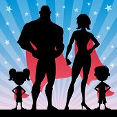 image of squares  - Square banner of superhero family - JPG