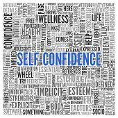 stock photo of self-confident  - Close up Blue SELF CONFIDENCE Text at the Center of Word Tag Cloud on White Background - JPG