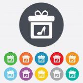 stock photo of shoe-box  - Gift box sign icon - JPG