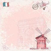 stock photo of moulin rouge  - Background image on paris depicting the Moulin Rouge - JPG