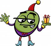 image of gnome  - Cartoon Illustration of Elf or Gnome with Christmas or Birthday Present - JPG
