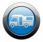 stock photo of motorhome  - Image Graphic Icon Button Pictogram with Motorhome symbol - JPG