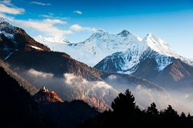 pic of italian alps  - The Castle of Graines is a castle in Val d - JPG