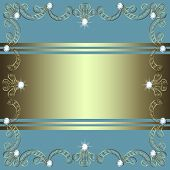 picture of precious stone  - Gold openwork frame with precious stones on a gray background - JPG
