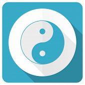 stock photo of ying-yang  - ying yang blue flat icon   - JPG