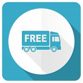 stock photo of free-trade  - free delivery blue flat icon transport sign  - JPG