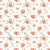 stock photo of small-flower  - Floral pattern in white pink and green colors - JPG