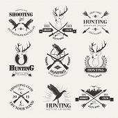 stock photo of duck-hunting  - Set of vintage hunting logo - JPG