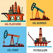 pic of oil derrick  - Oil production industry concept showing oil platforms in the ocean and oil pump jacks with texts Oil Platform - JPG