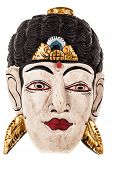 picture of sita  - an old traditional indonesian mask isolated over a white background - JPG