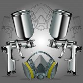 stock photo of air paint gun  - an image of two spray guns with a mask for protection against dust - JPG