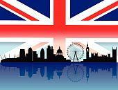 Постер, плакат: Лондон на фоне линии горизонта с флагом