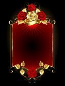 stock photo of brocade  - red banner with gold and red roses on a dark background - JPG