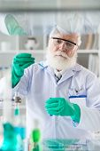 image of reagent  - Senior scientist in gloves and goggles working with reagent - JPG