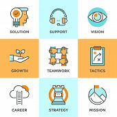 pic of solution  - Line icons set with flat design elements of success business metaphor marketing vision customer support idea solution career ladder startup growth - JPG