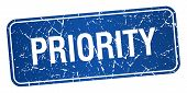 stock photo of priorities  - priority blue square grunge textured isolated stamp - JPG