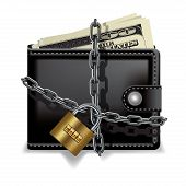 stock photo of lock  - Black locked wallet with money isolated on white - JPG