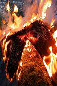 picture of bonfire  - Jeans on fire on top of the midsummer bonfire - JPG