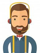 picture of telephone operator  - An operator man with headset customer service helpdesk service - JPG