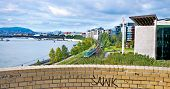 image of suburban city  - City of Budapest and river Danube at spring time - JPG