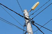 foto of pole  - Electrical wire on pole - JPG