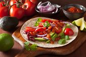stock photo of kidney beans  - vegan taco with vegetable - JPG