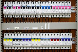 pic of breaker  - Control panel with static energy meters and circuit - JPG