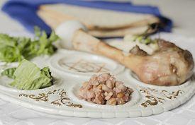 stock photo of seder  - Jewish seder plate - JPG