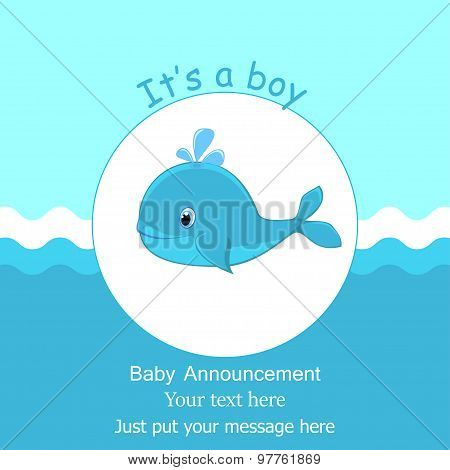 Whale Baby Shower It S A Boy Card Design Baby Shower Invitation