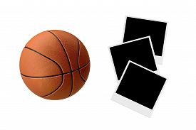 picture of polaroid  - Front view of basketball with polaroid photos isolated on white background - JPG