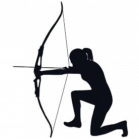 stock photo of bow arrow  - Silhouette of a female archer with bow and arrow - JPG