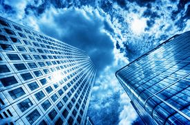 picture of high-rise  - Sun reflecting in modern business skyscraper - JPG